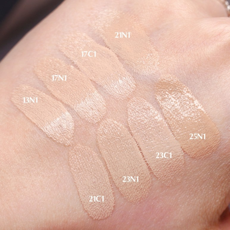 HERA'S GLOW LASTING CUSHION ALL COLORS FACE SWATCH REVIEW